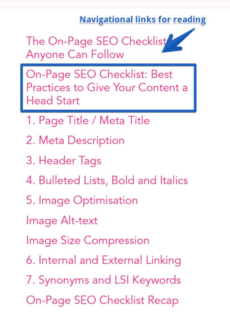 content menus - on page seo checklist