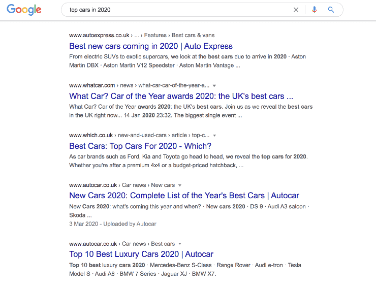 Google search results for top cars in 2020 - Seo Copywriting