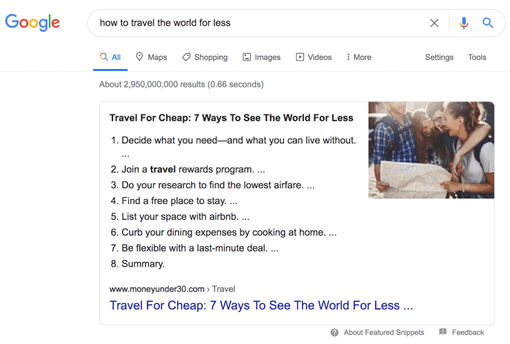 Featured snippet - Seo techniques