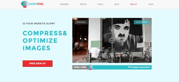 How to Boost SEO: A screenshot of Shortpixel website