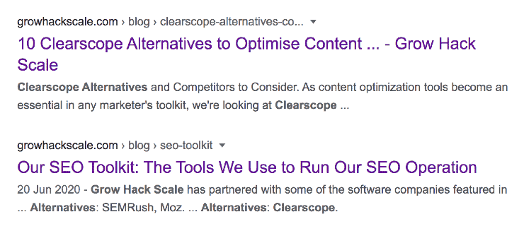 How to improve SEO: screenshot of Google SERPs showing Grow Hack Scale blog articles