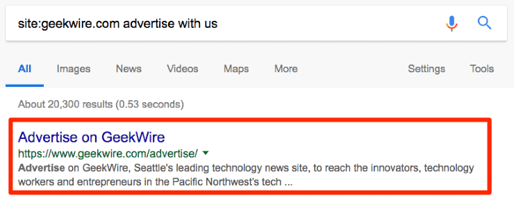 Google search result for site:geekwire.com advertise with us