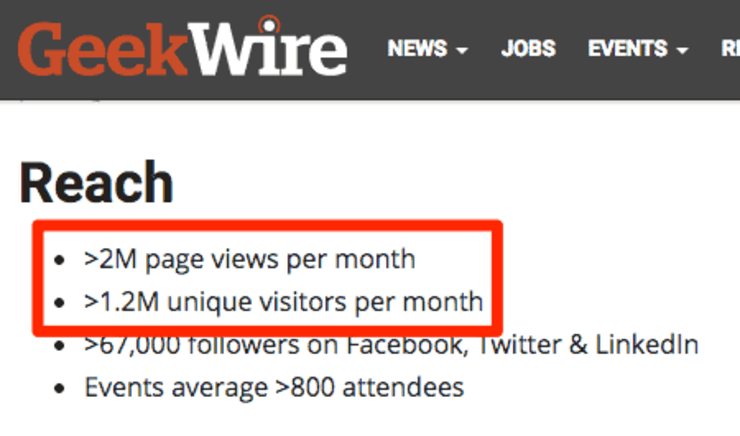 Geekwire website reach stats