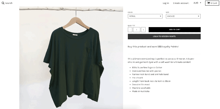 product details page for australian clothing brand Tluxe's shopify store - Shopify Seo