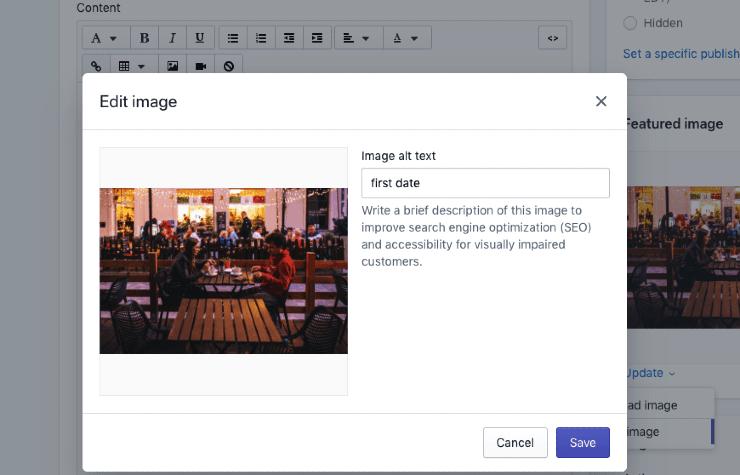 A screenshot of WordPress edit image option - Shopify Seo