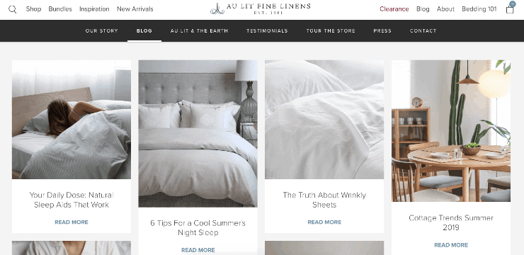 Au Lit Fine Linens' blog section - Shopify Seo
