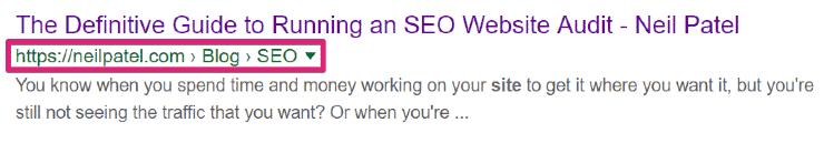 Neil Patel Search Snippet - SEO Website Audit