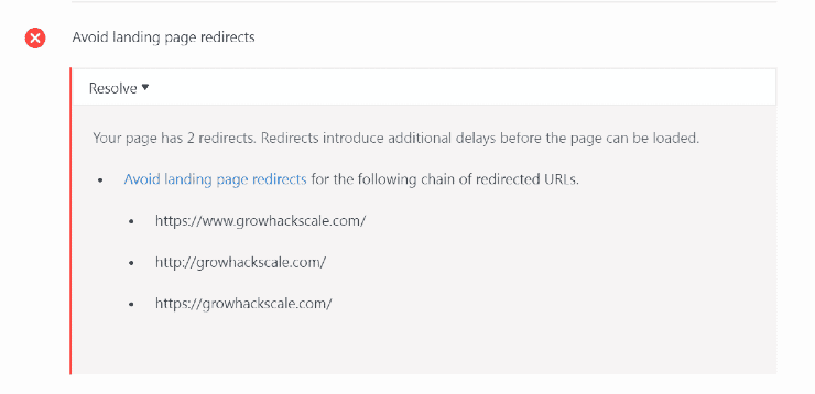 Landing page redirect chain - SEO website audit