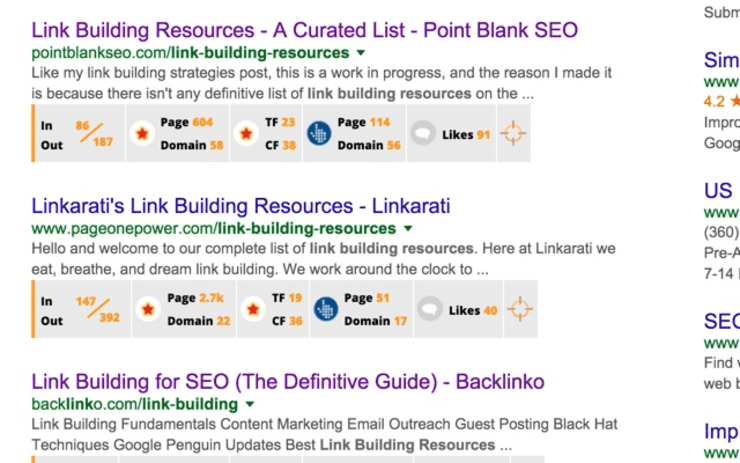 Sample Search Results from Backlinko's Link Miner - Best Free SEO Tools
