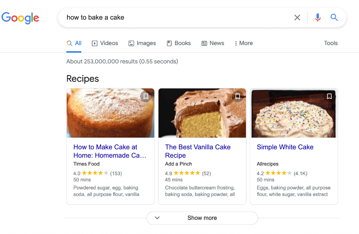Google SERPs for how to bake a cake - what is search intent