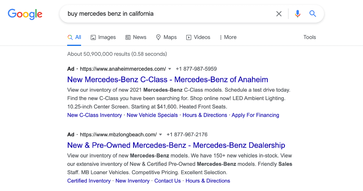 Google SERPs for buy mercedes benz in california - transactional search intent