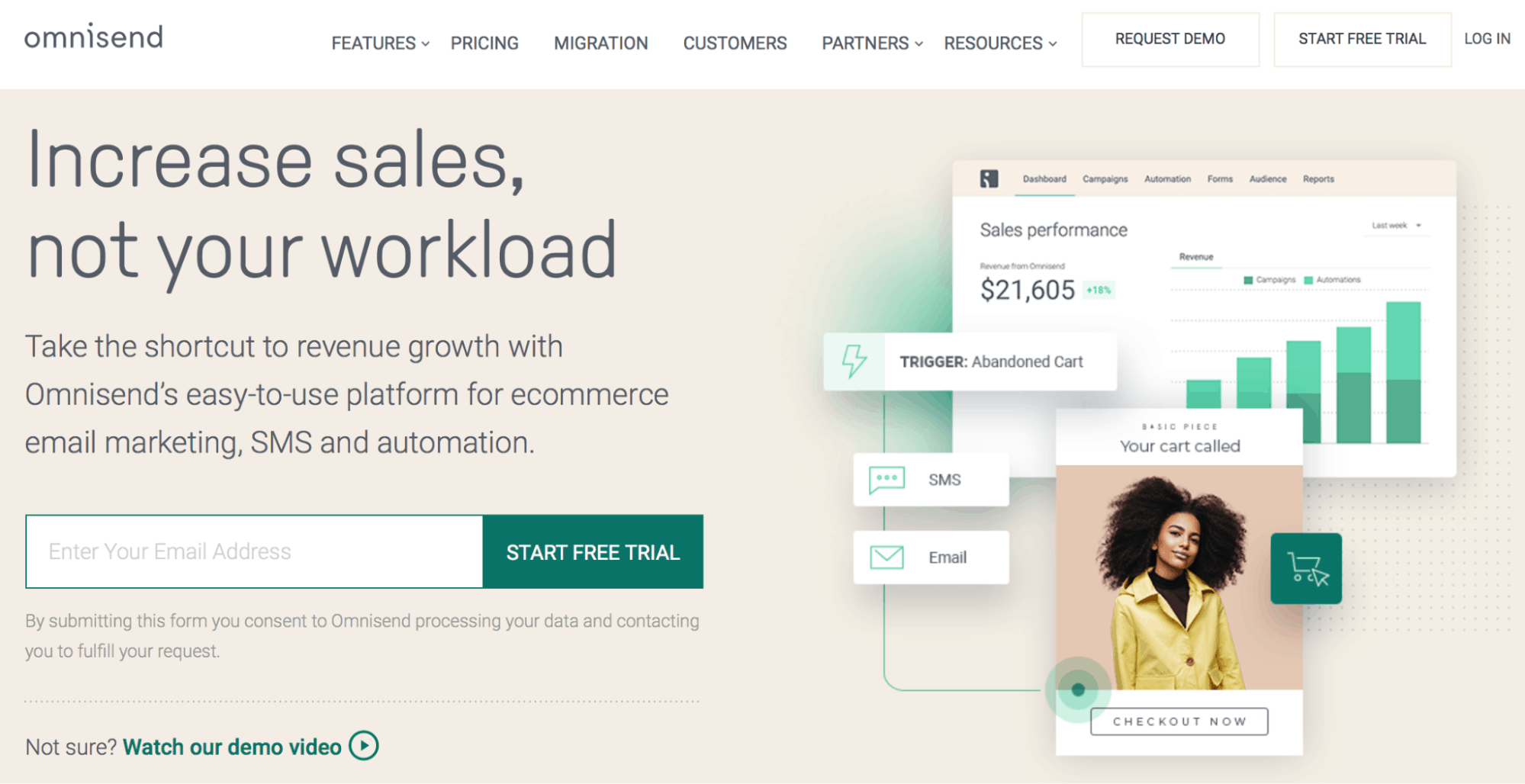 Omnisend Landing Page - Content Marketing