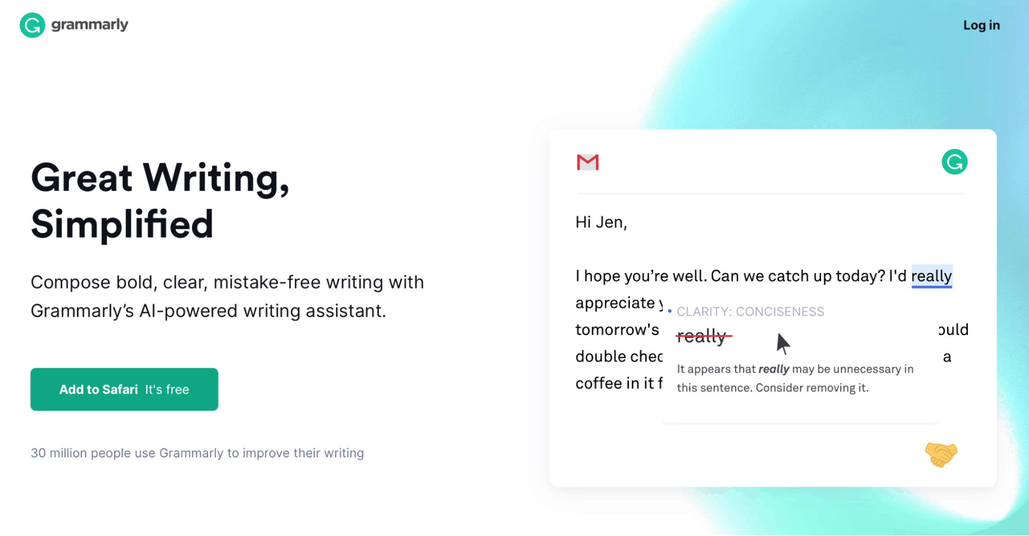Grammarly Landing Page - Content Marketing