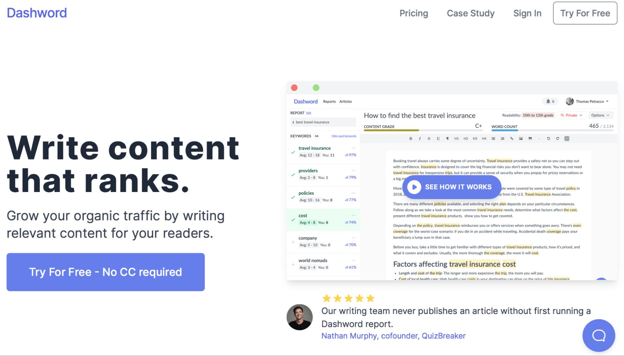 Dashword Landing Page - Content Optimization
