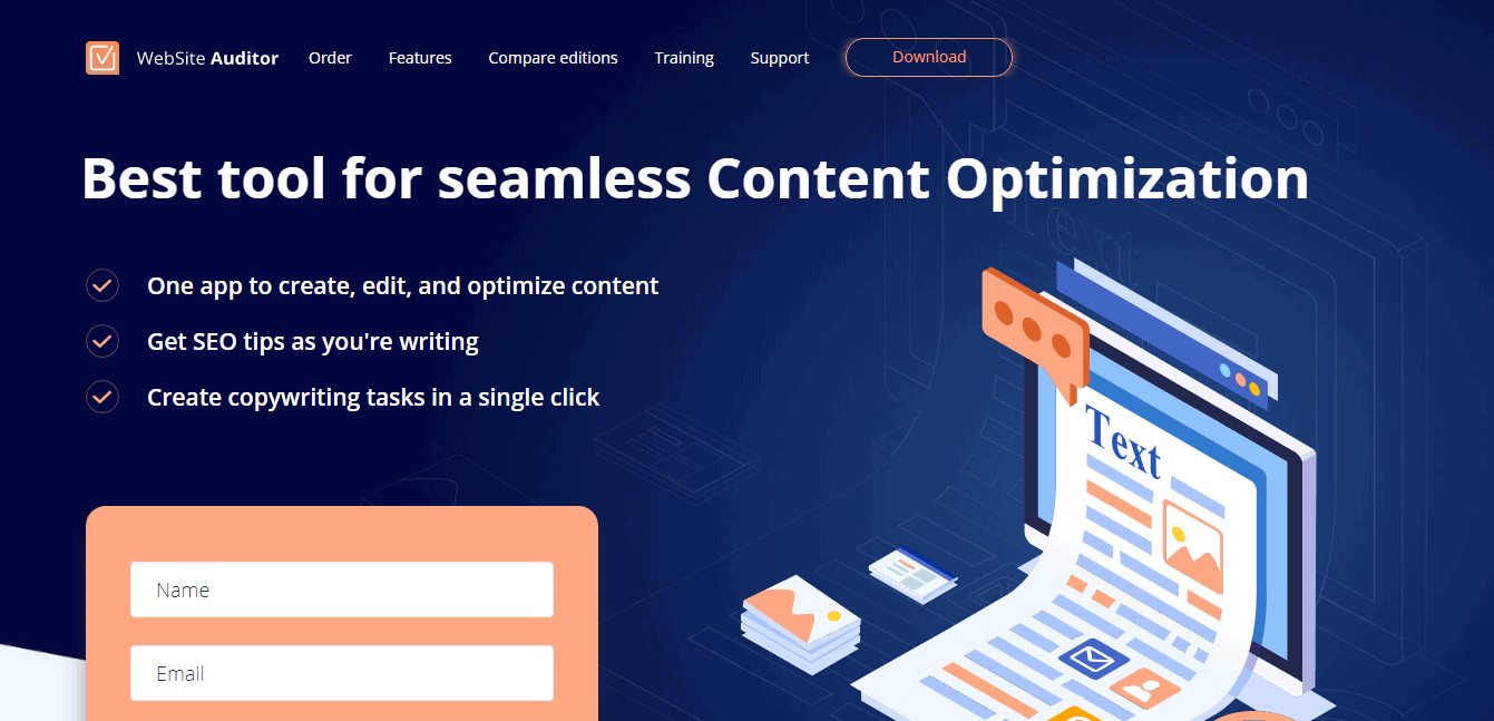 Website Auditor Content Editor Landing Page - Automatically Generated Content