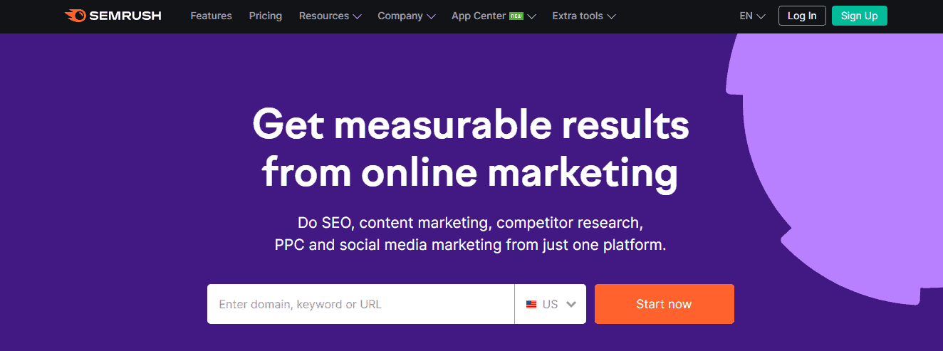SEMrush Landing Page - Automatically Generated Content