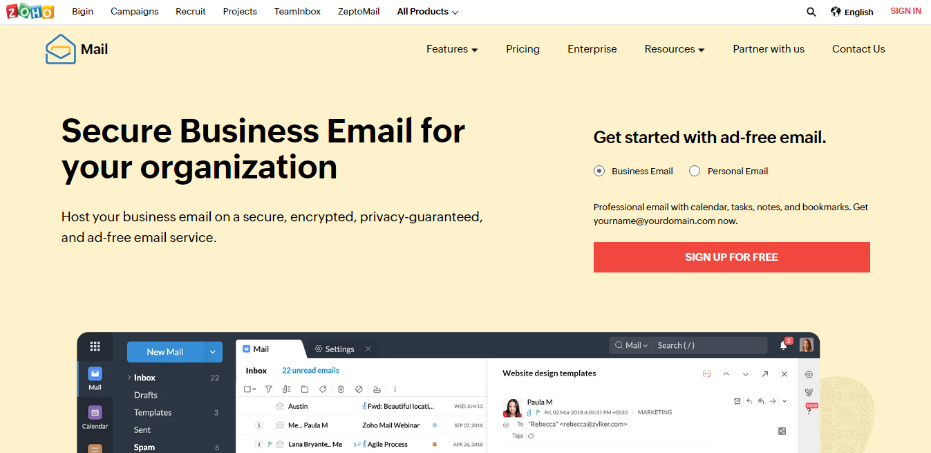 Zoho Mail - Email Service Provider