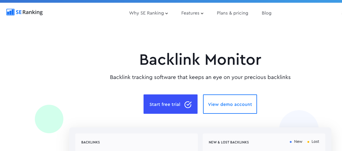 SE Ranking Backlink Monitor Landing Page - Disavow Backlinks