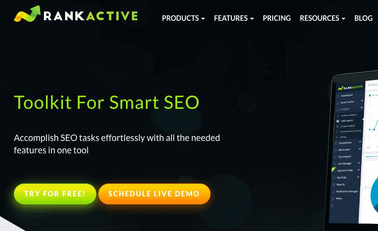 RankActive Home Page - Disavow Backlinks