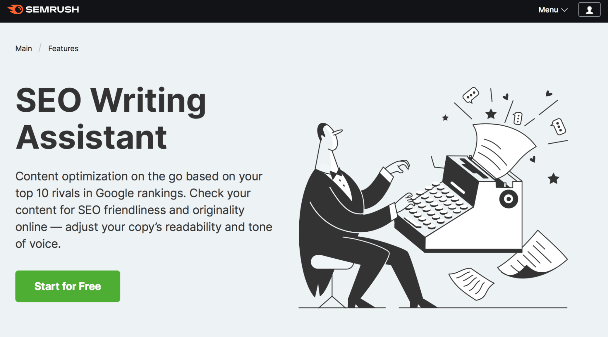 SEMrush SEO Writing Assistant Landing Page - Article Spinning
