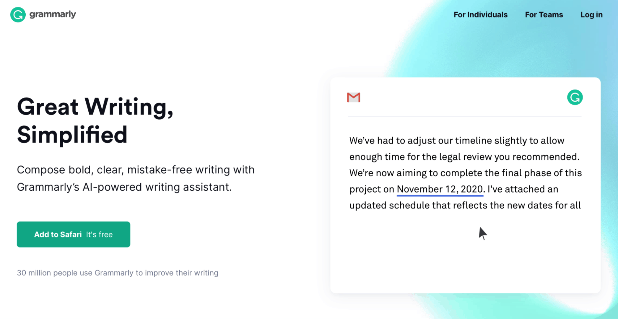 Grammarly Landing Page - Article Spinning