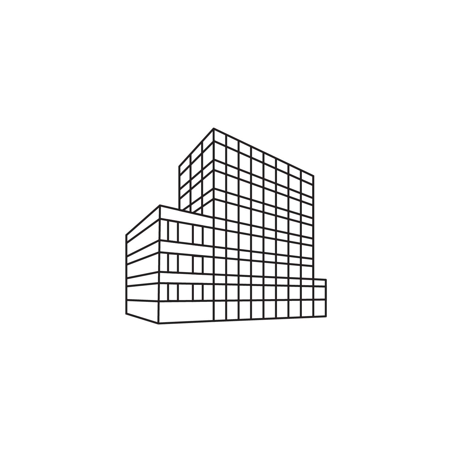 OurDomain Amsterdam Diemen - White drawing of the building with transparent background