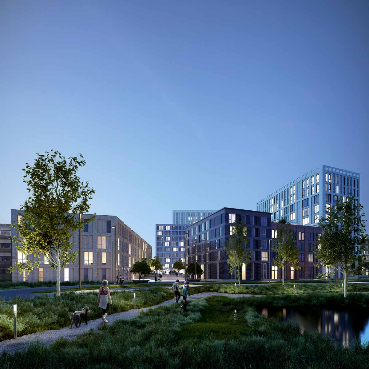 Render of OurDomain Amsterdam Diemen park during the evening with people walking on the sidewalk