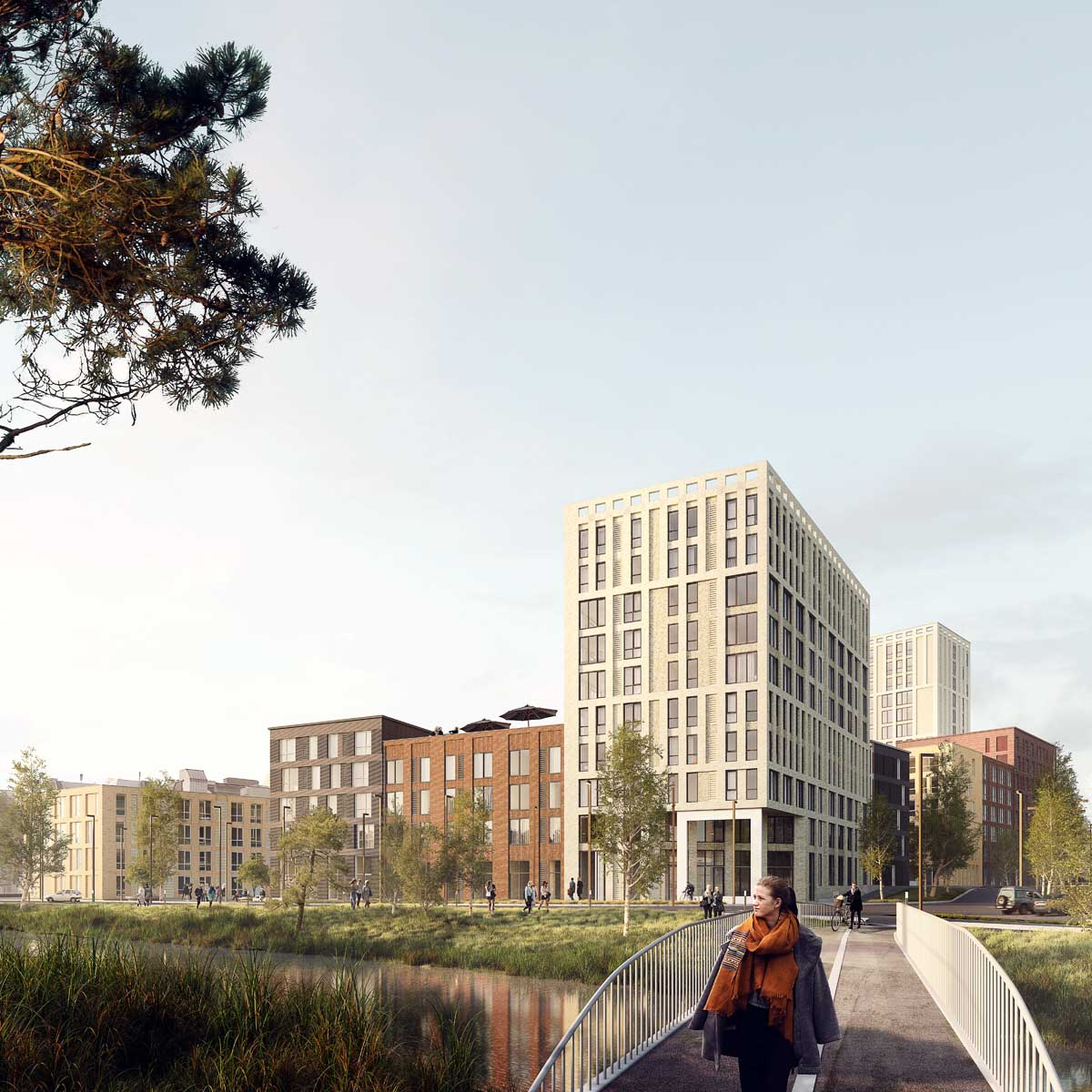 Render of OurDomain Amsterdam Diemen with girl walking on the bridge during the day
