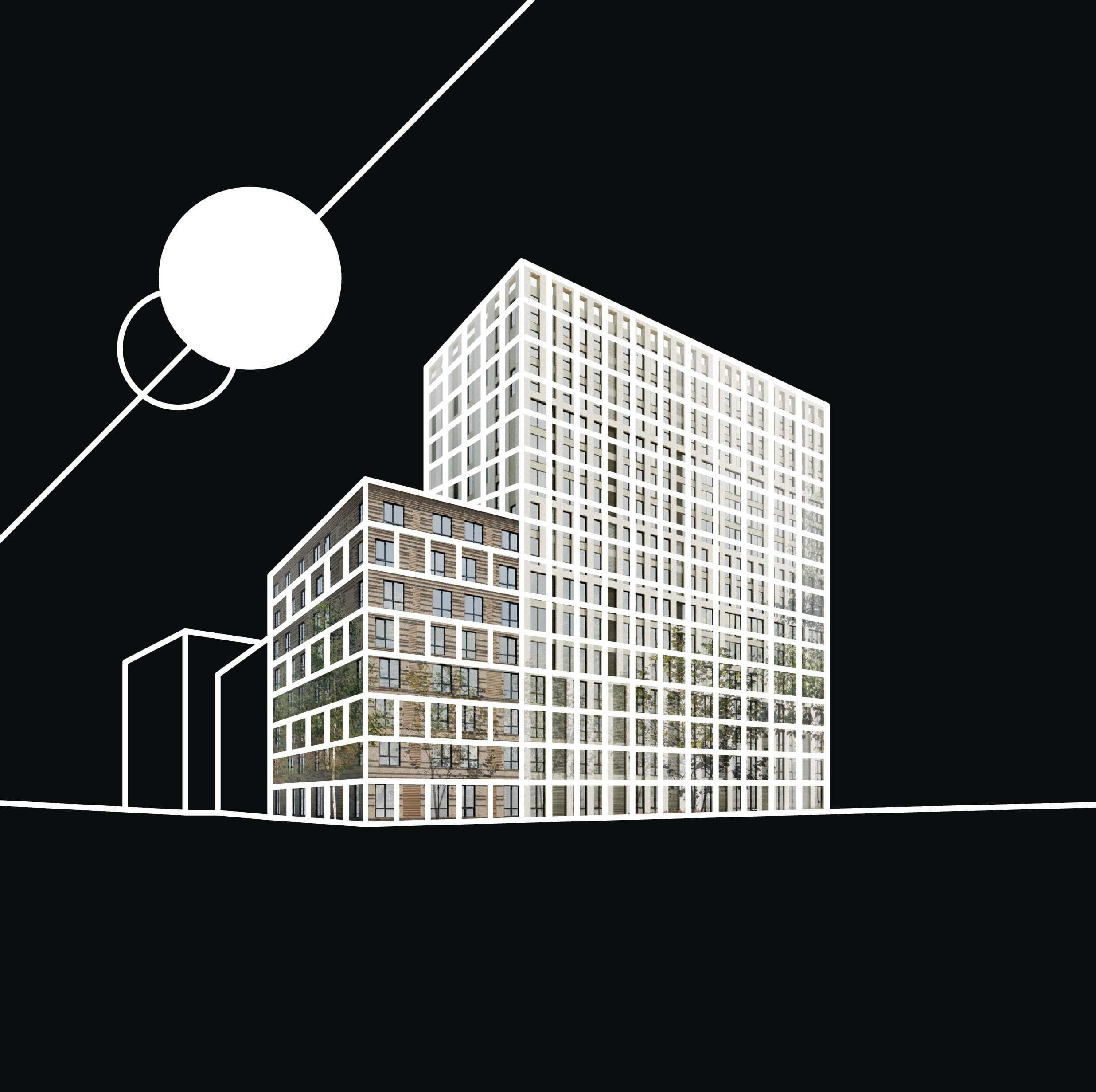OurDomain Amsterdam Diemen - White drawing of the building with black background