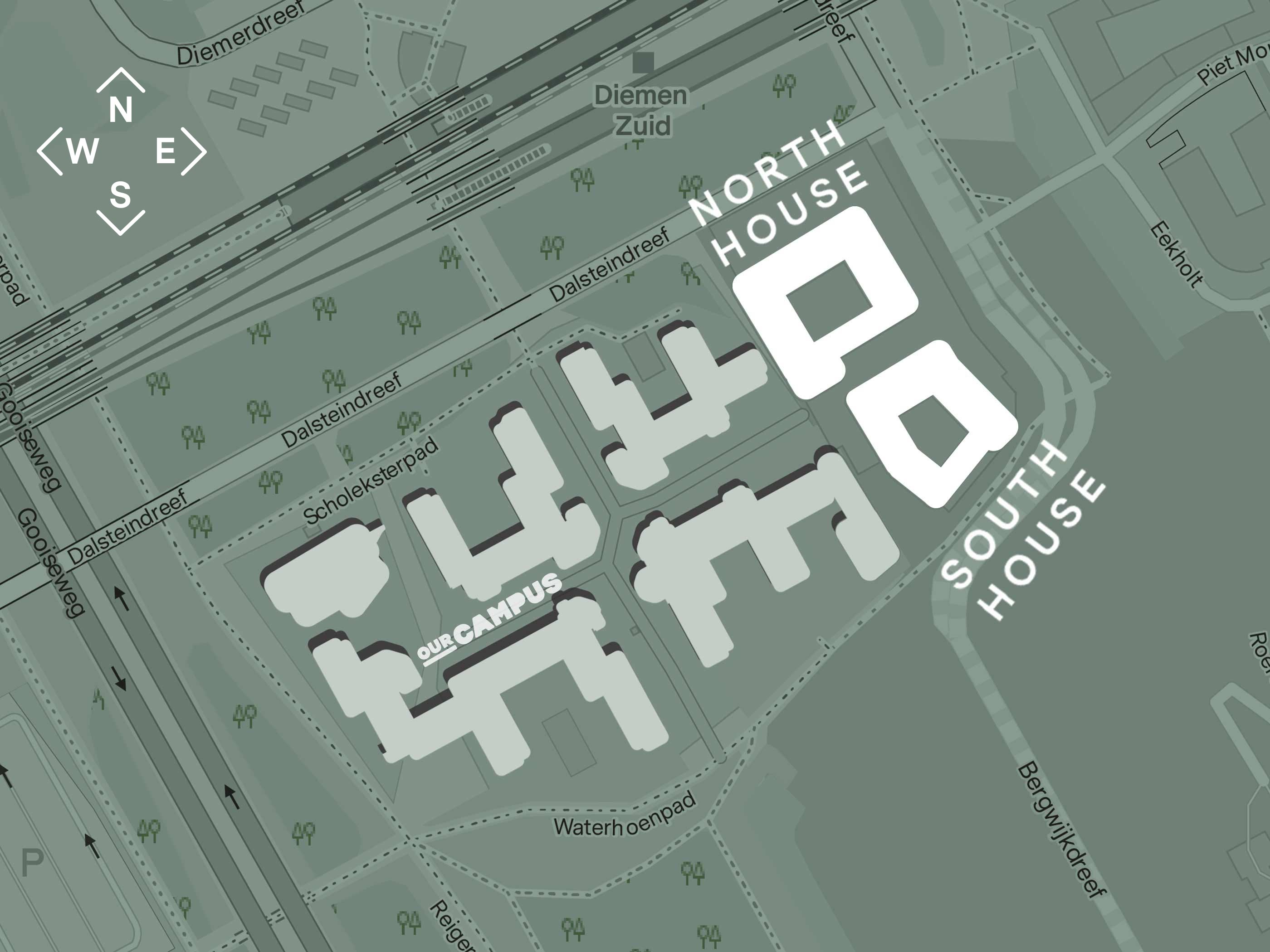 Map of OurDomain North House and South House