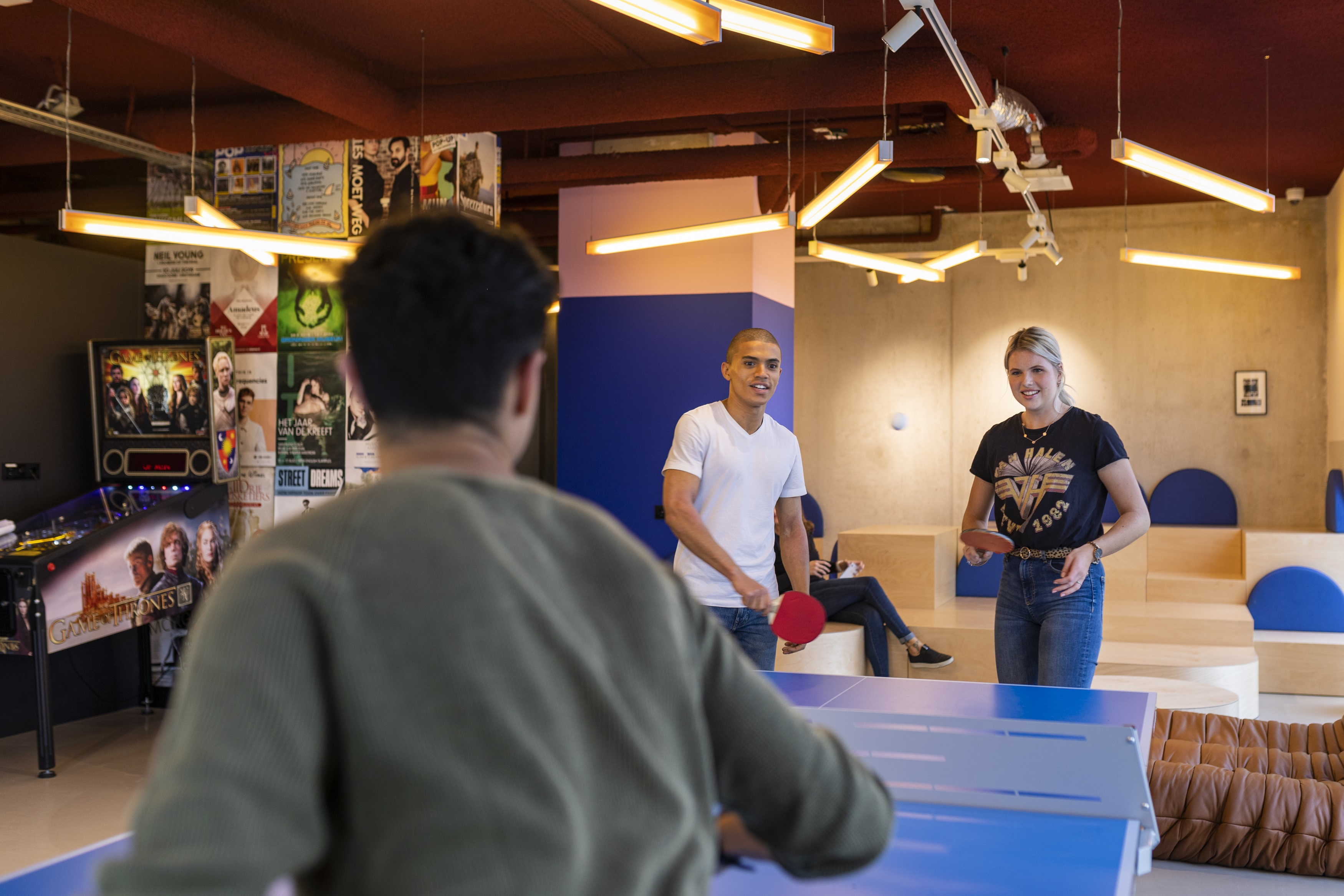OurDomain Amsterdam Diemen Game Room with residents playing table tennis