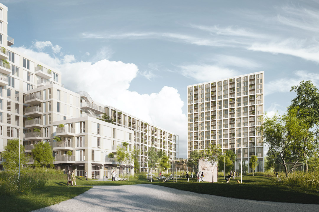 OurDomain Amsterdam South East buildings and city park render