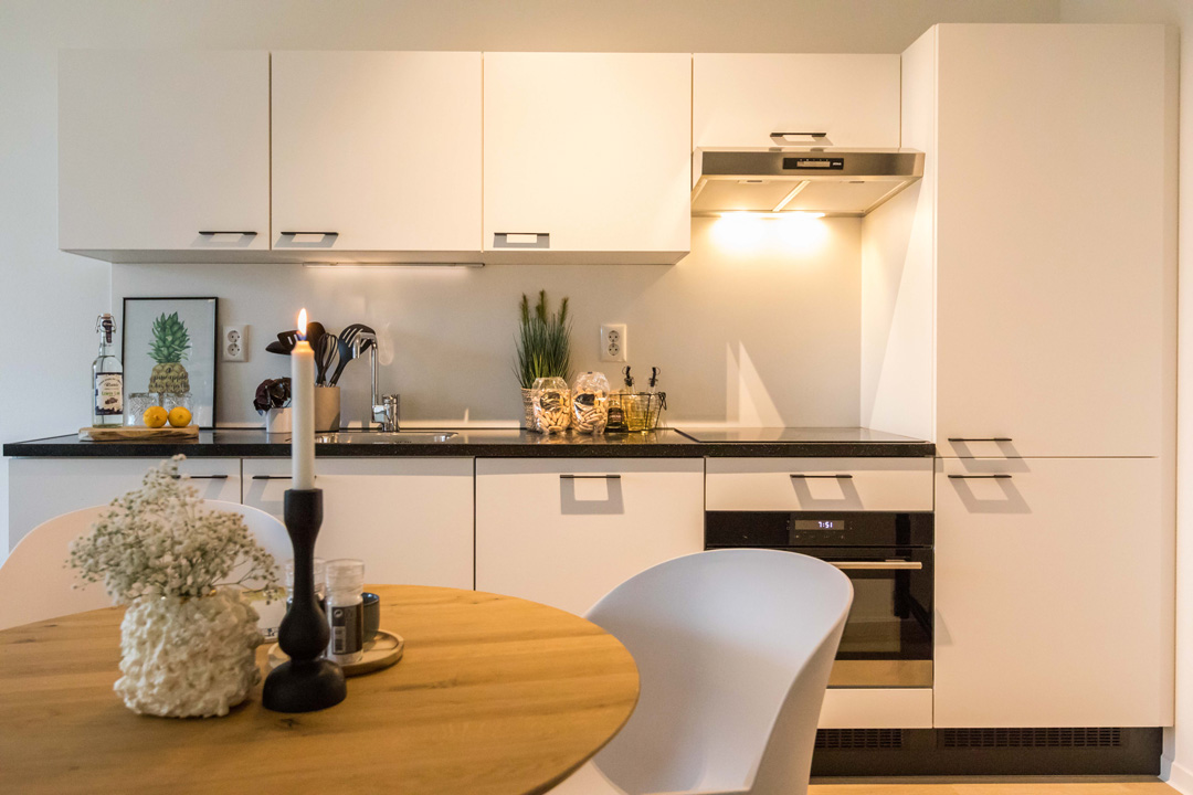 Kitchen of furnished North and West House 1-bedroom apartment in OurDomain Amsterdam South East