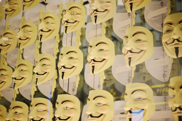 Photo of Anonymous hacker masks