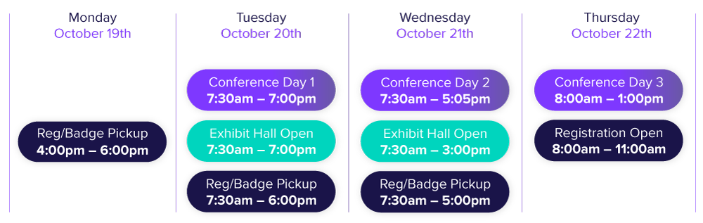 conference days and times