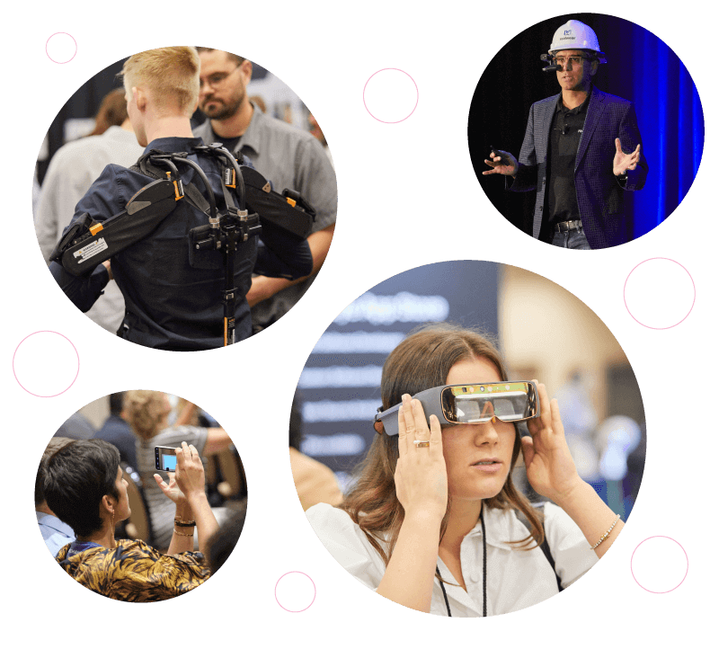 image cloud of exoskeleton, thirdeye mixed reality headset, Realwear speaker with headset on stage, and audience members of wearable tech conference