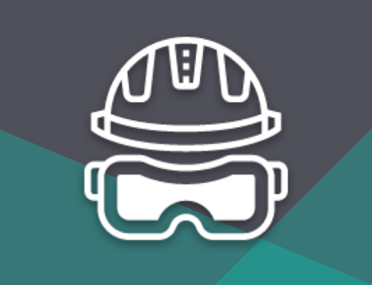 safety icon with hardhat and smart glasses