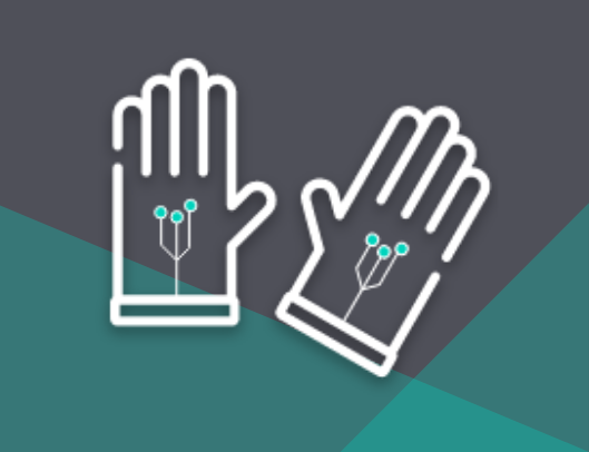 exoskeleton, smartwatch, and biometric icon with haptics/exoskeleton gloves graphic