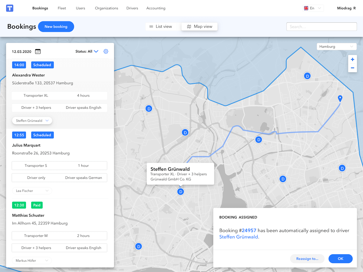 Delivery dispatch system in the M-TRIBES delivery software dashboard