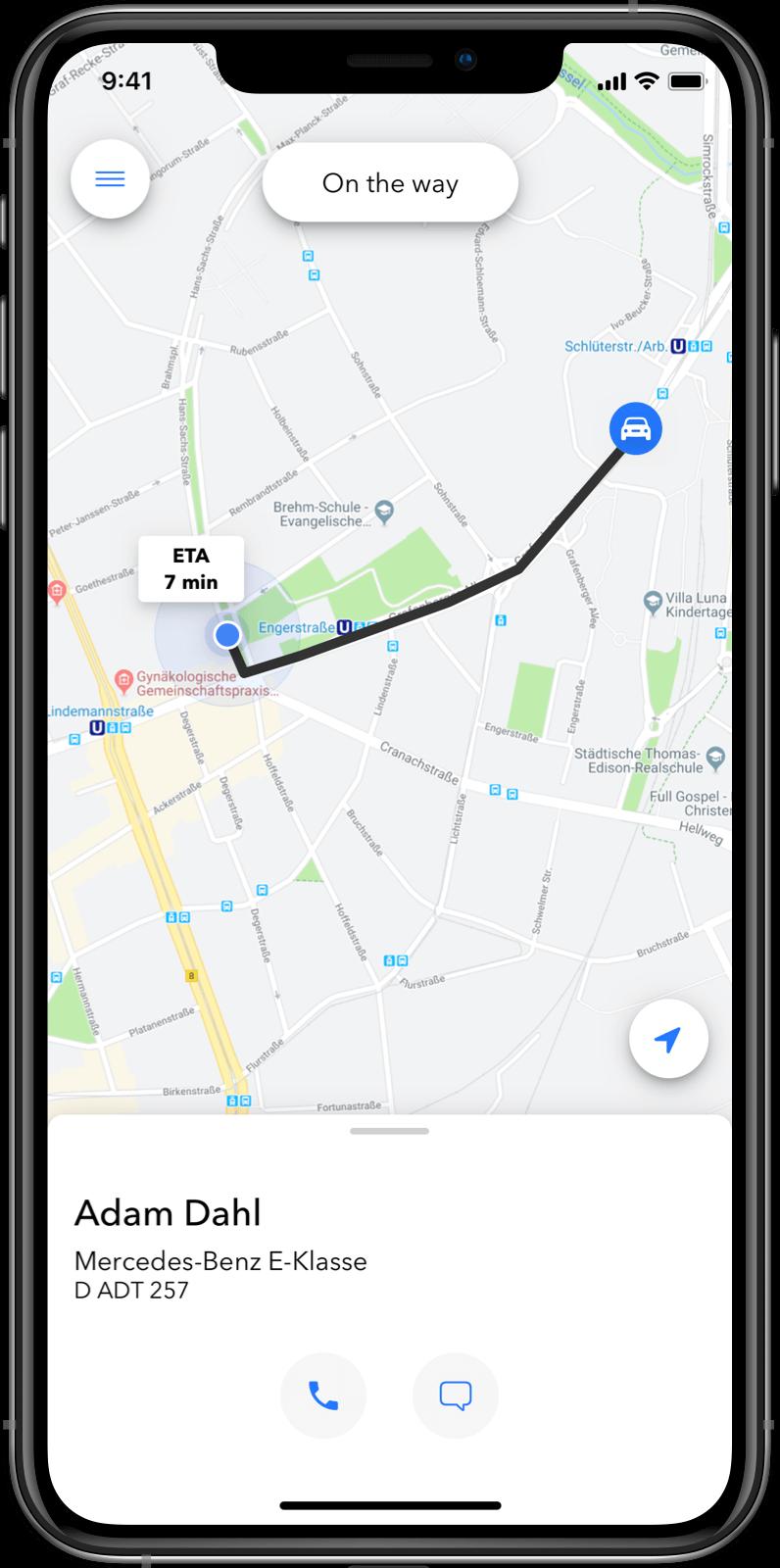 Kunden-App: Live-Tracking auf einer Karte