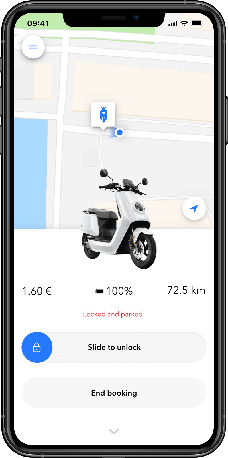 Customer App: park and lock mode