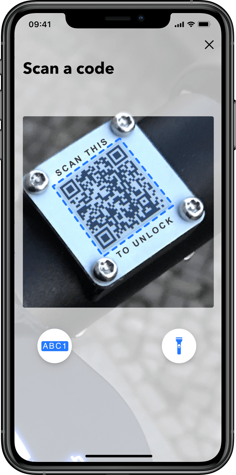 Customer App: scan qr code to unlock
