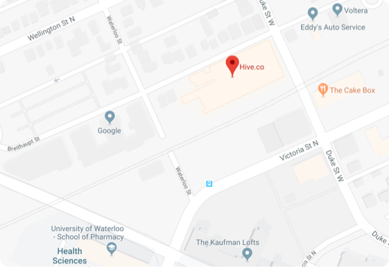 Map showing location of Hive's Office in the Tech Corridor of Kitchener
