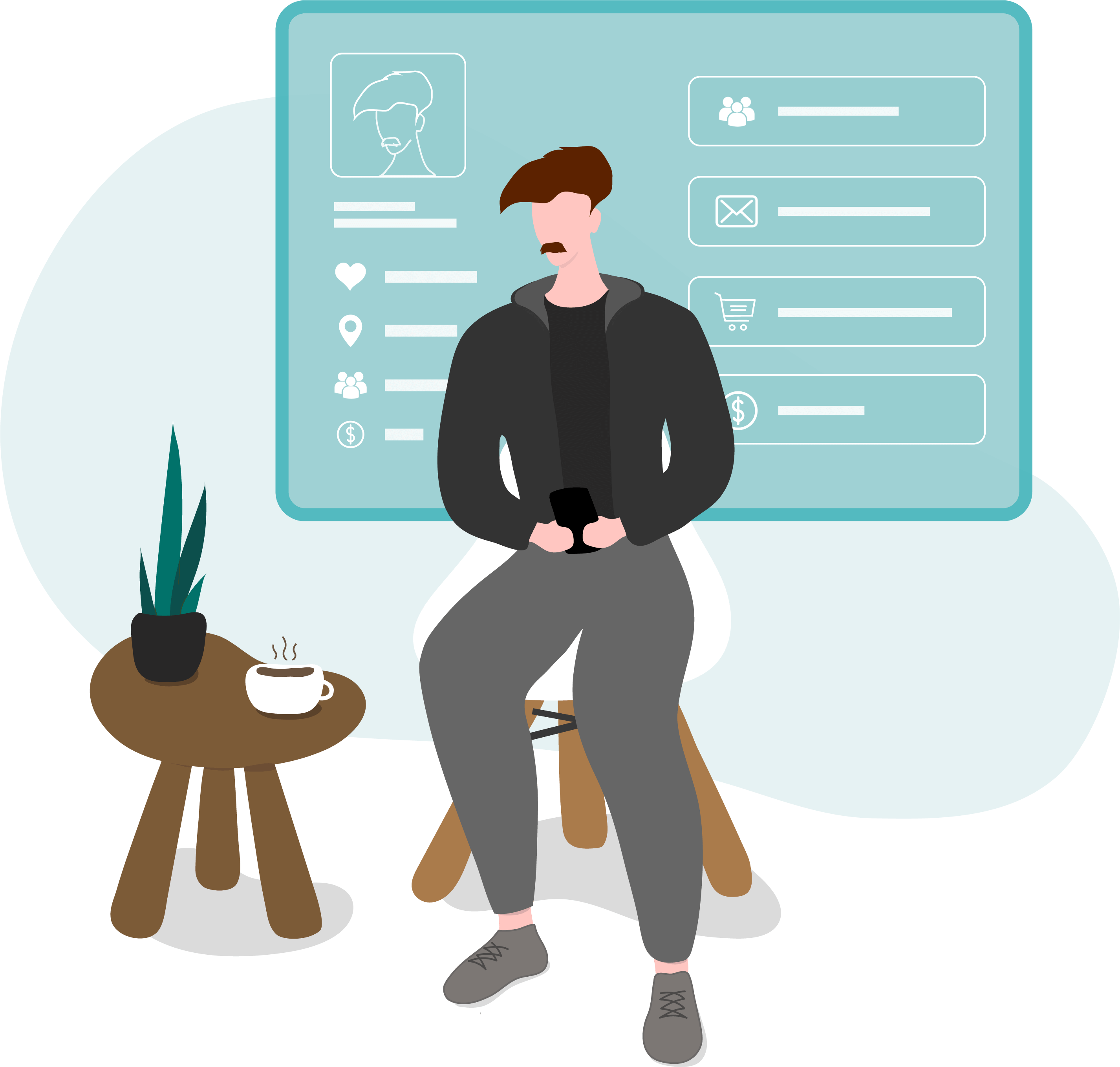 Illustration of a customer using their phone, with a contact profile behind them displaying customer insights to drive smarter email