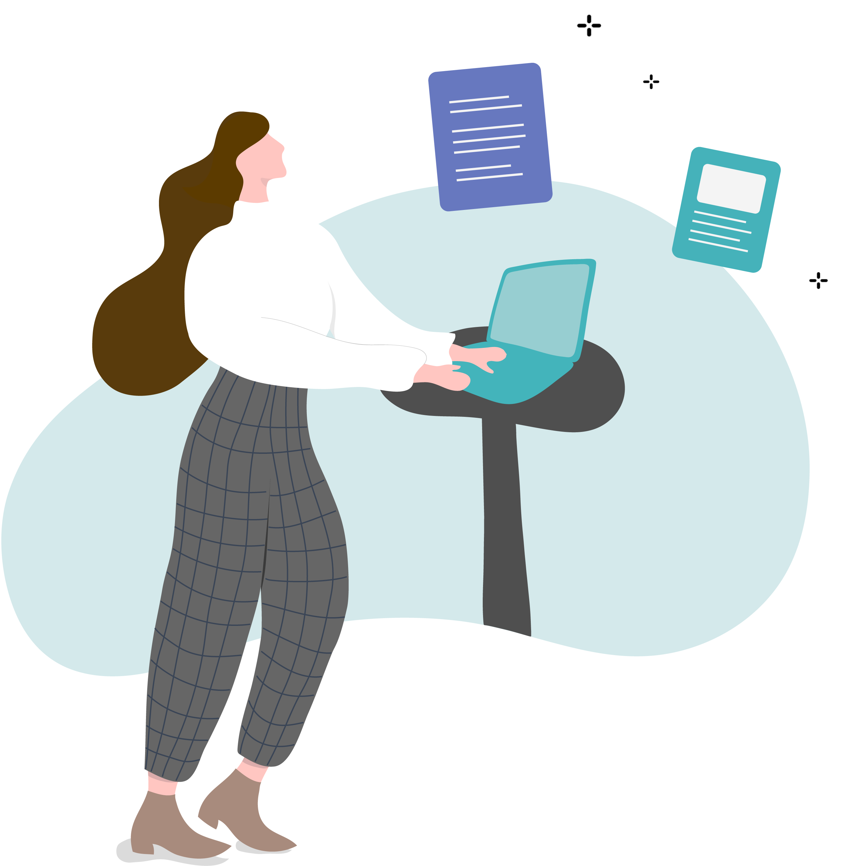 woman at standing desk with hive email marketing resources