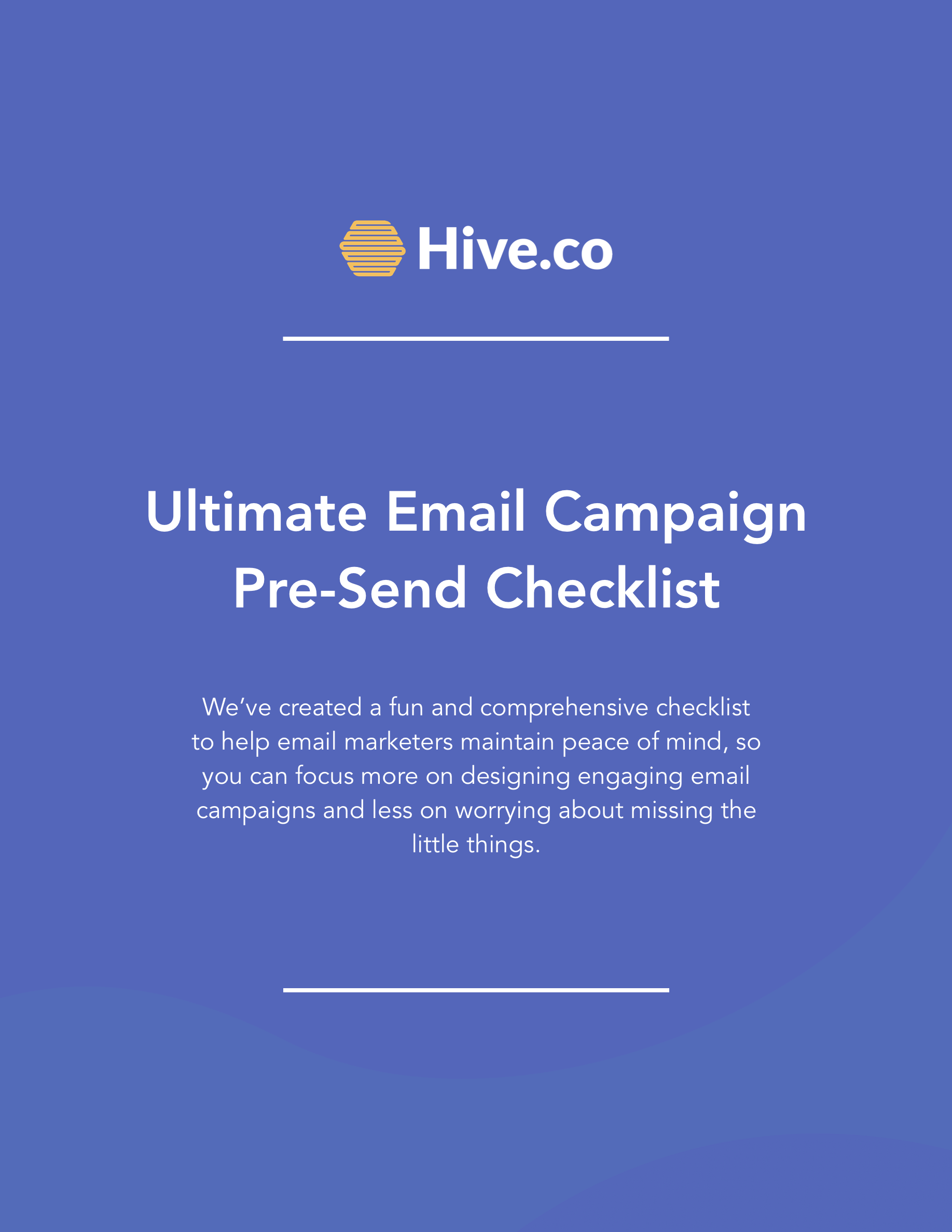 Hive.co Email Campaign Checklist Preview Page 1