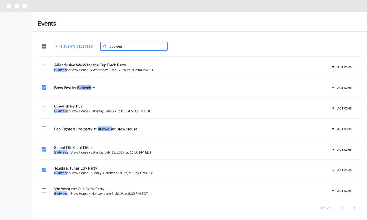 Events search page for Eventbrite product screenshot