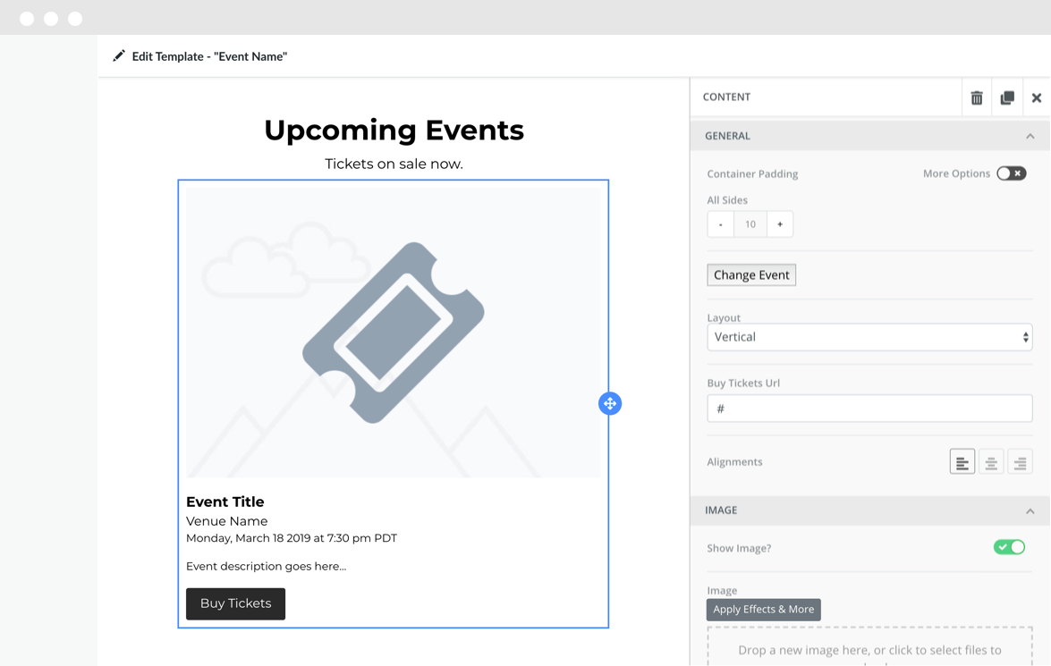Synced Eventbrite event block in template editor