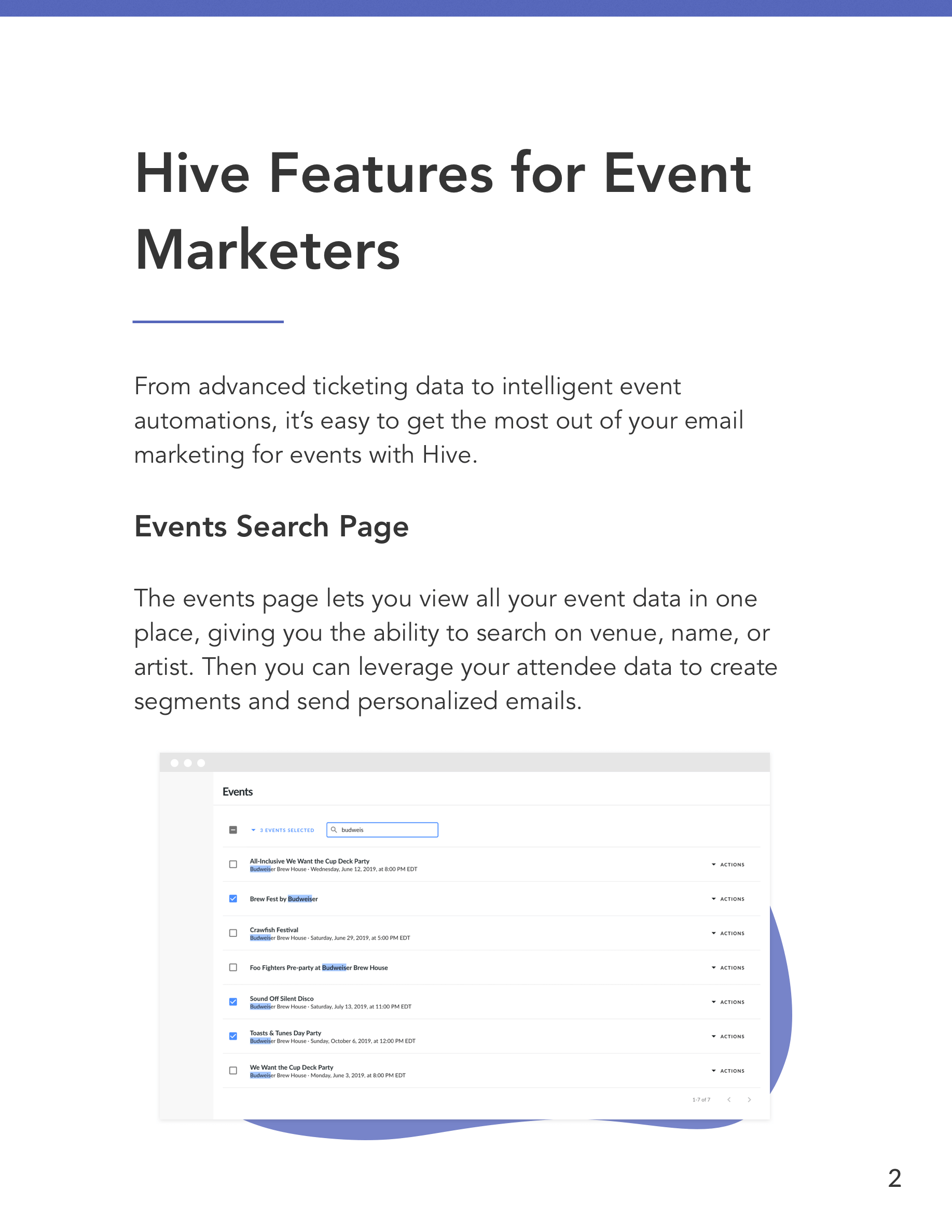 Hive Features for Event Organizers Preview Page 2