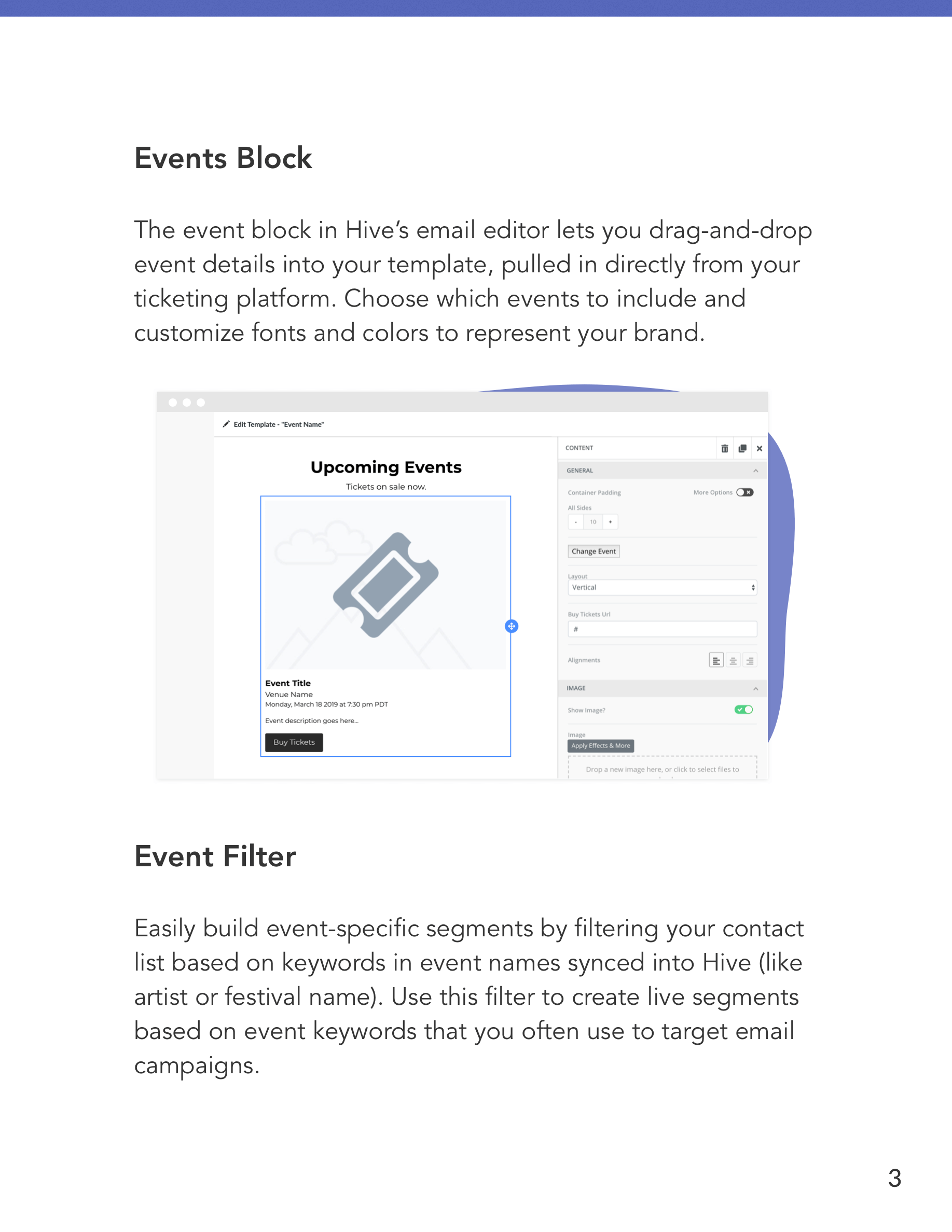 Hive Features for Event Organizers Preview Page 3